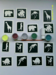 Jungle themed glitter tattoo set including 40 stencils + 5 glitter colours + glue   monkey bear giraffe elephant